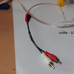 Red and White Component leads attached to speaker cable